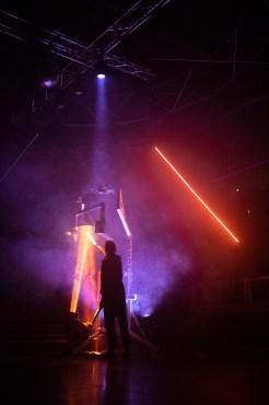 Nightswimming (Poetic Clubbing Performance), résidence au Red Club de Tours - Mise en scène par Romain Grard, Écrit par Romain Grard et Jules Sagot, Création lumière par Lucien Valle, assisté par Martin Barrientos, Création sonore par Maxence Granville, Costumes par Marion Moinet, Tower (installation scénique / machine) par XP Unit. Victor Assié.