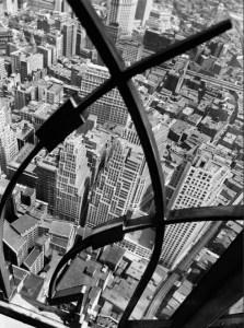Berenice Abbott. City arabesque from the roof of 60 Wall St Tower NY 1938