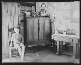 Interior of miner's shack Scott's Run outside of Morgantown West Virginia Walker Evans