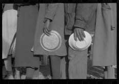 Negroes in the lineup for food at mealtime in the camp for flood refugees, Forrest City, Arkansas Walker Evans