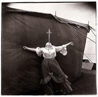 Albino sword swallower at a carnival, Md. 1970 Diane Arbus