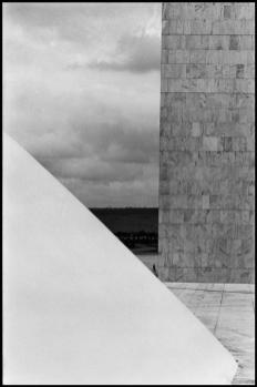BRAZIL. Brasilia. 1961. The National Congress building by Oscar NIEMEYER.dElliott Erwitt