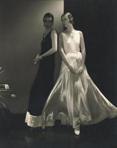 Model Marion Morehouse and unidentified model wearing dresses by