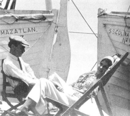 Atribuida a Chandler Weston. Tina Modotti y Edward Weston en el SS Colima. (1923)