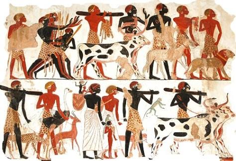 Un ejemplo típico de pintura egipcia.