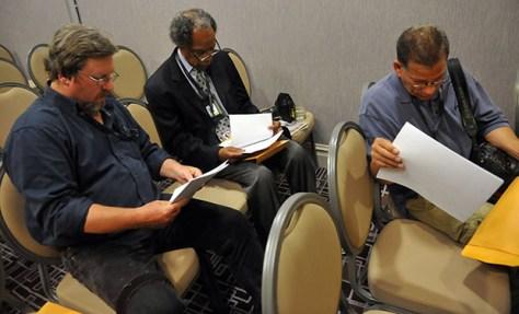 La reunión donde notificaron a los fotoperiodistas del Chicago Sun-Times sobre su despido. Foto © Al Podgorski (uno de los fotógrafos despedidos)