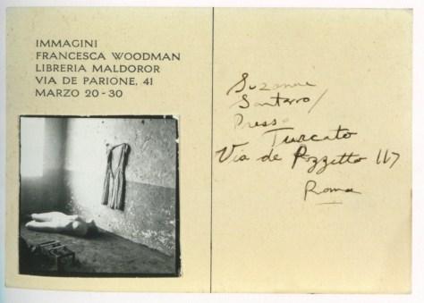 Rome Italy 1978 invitation for the exhibition Immagini fRancesca Woodman in Libreria Maldoror-2