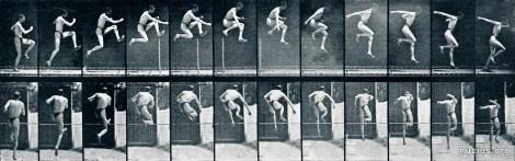 Eadweard Muybridge: Athlete. A straight high jump