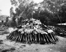 Lashing shovels retrieved from underground, Central Salvage Yard, Randfontein Estates, Randfontein.