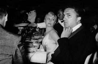 FRANCE. 10th Cannes film festival. 1957. Italian actress Giulietta MASINA and her husband, the Italian film director Federico FELLINI.