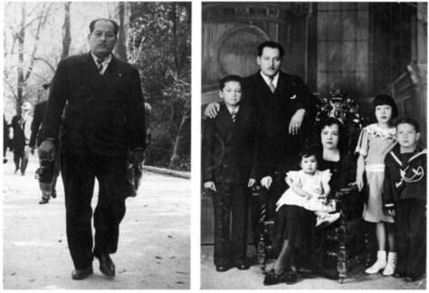Ernesto López Osorio (izquierda) y la familia López Bocanegra (derecha)