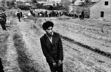 Koudelka. CZECHOSLOVAKIA. Slovakia. Jarabina. 1963. Reconstruction of a homicide. In the foreground: a young gypsy suspected of being guilty.