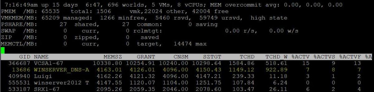 esxtop memory metrics