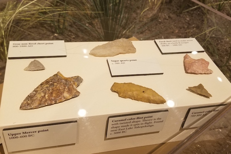 Arrowheads on display at the Osceola County Welcome Center & History Museum.