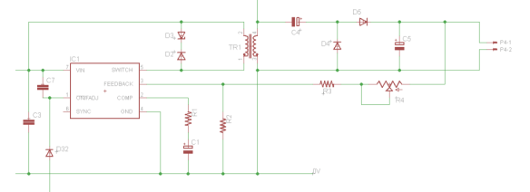 Flyback circuit used in the Prototype