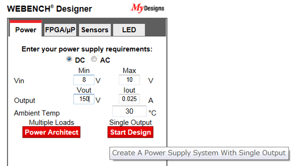 Step 1 - specify required voltage and current