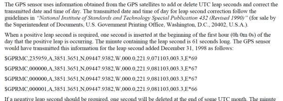 Leap second handling by a Garmin GPS