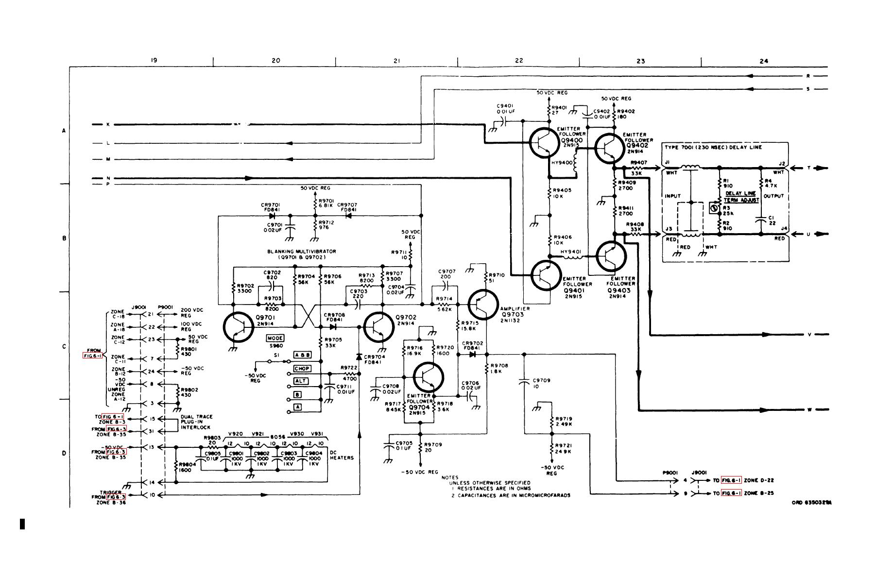 Figure 6 2 Dual Trace Plug In Type 76 02a With Mod 101 And Delay Line Schematic Sheet 4 Of 5
