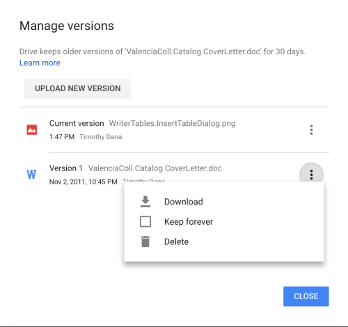 Manage versions dialog in Google Drive