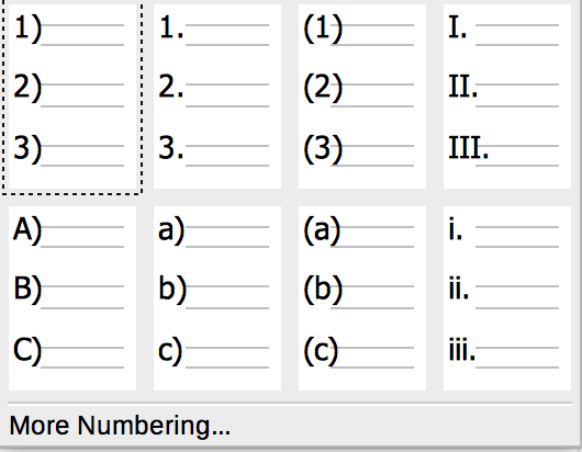 Numbering drop-down list in Formatting toolbar in LibreOffice Writer