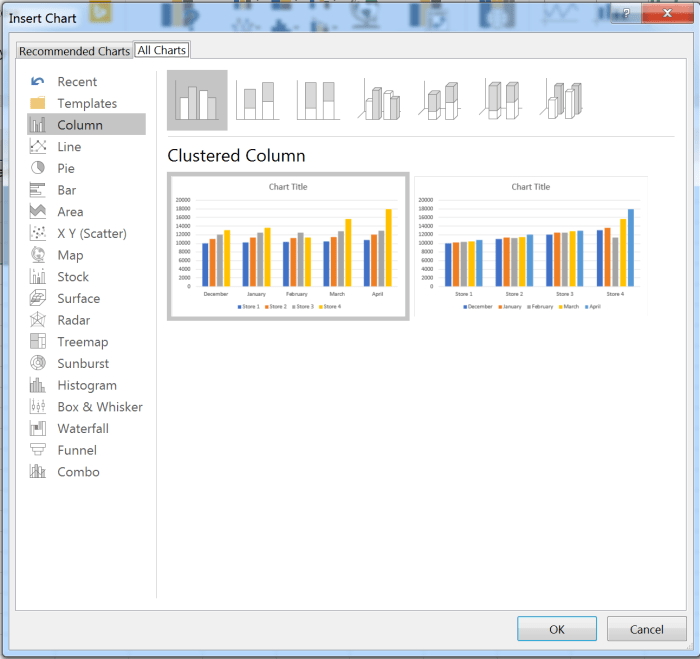 Insert Chart dialog in Excel for Windows