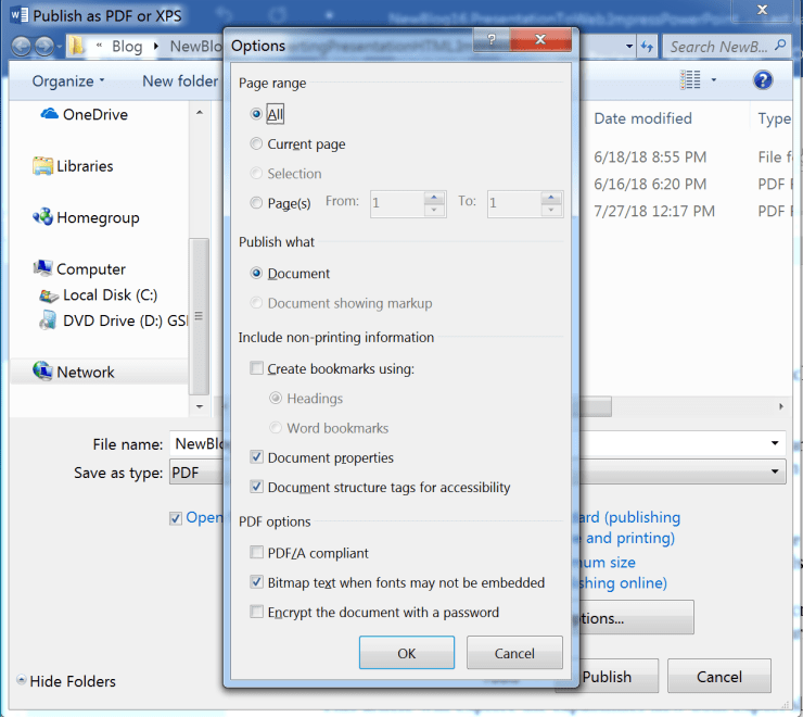 Options dialog for PDF in Microsoft Word