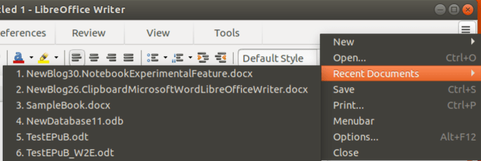 Recent Documents in the three-bar menu in Tabbed Compact user interface.
