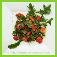 Salade de feuilles de pissenlit (du jardin !...) et de fraises au miel et aux pralins