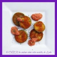 Aubergine panée et coulis de tomate glacé à l'estragon