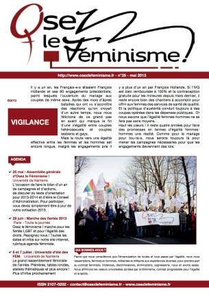 Journal 25 d'Osez le féminisme ! Mai 2013