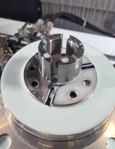 Image of the rotor part in S45C after processing. Asia Precision Public Company Limited was initially machining these parts with the use of a drill and an end mill. After switching to the ADF flat drill, Asia Precision is able to consolidate the process, significantly reducing processing time.