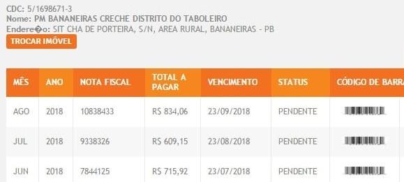 Bananeiras 2 - Prefeitura de Bananeiras não paga as contas de energia há mais de 3 meses