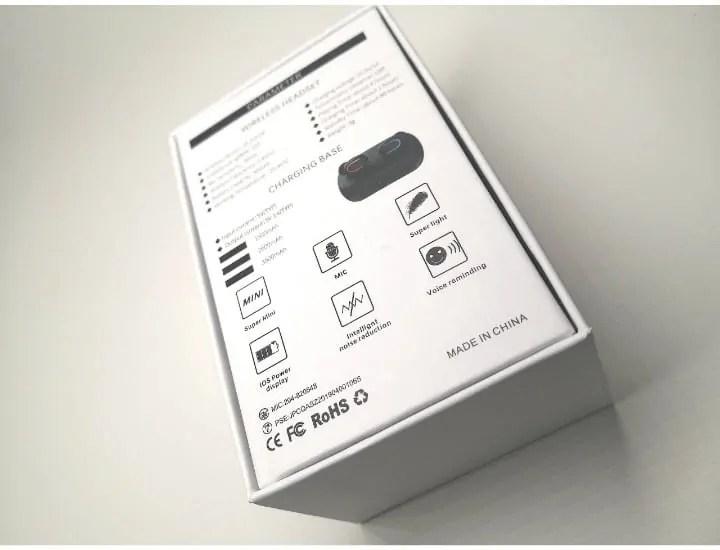 Kingandaのワイヤレスイヤホン「HBQ-Q32」パッケージ外観裏面