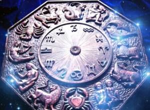 zodiac over starry background