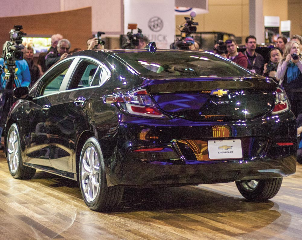 General Motors currently produces three electric and electric-hybrid vehicles, including the Chevrolet Volt seen here at its Canadian debut in 2015. Oshawa councillors are calling on the automaker to take advantage of the skilled workforce in the city and produce its electric cars here.