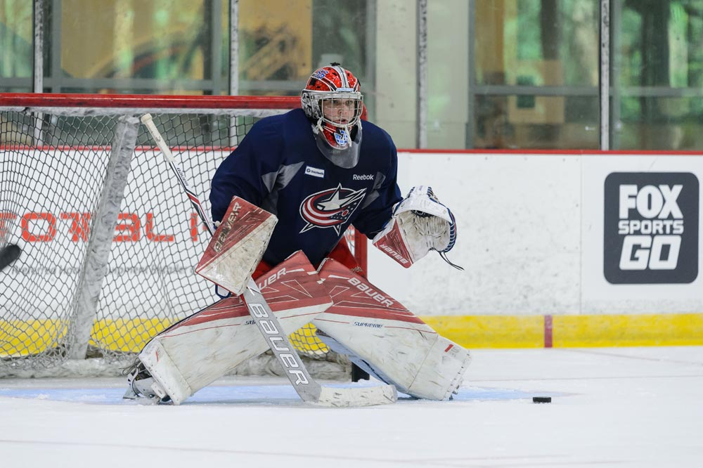 Gens' goaltender Jeremy Brodeur dons a different uniform as he takes part in the Columbus Blue Jackets development camp in Ohio.