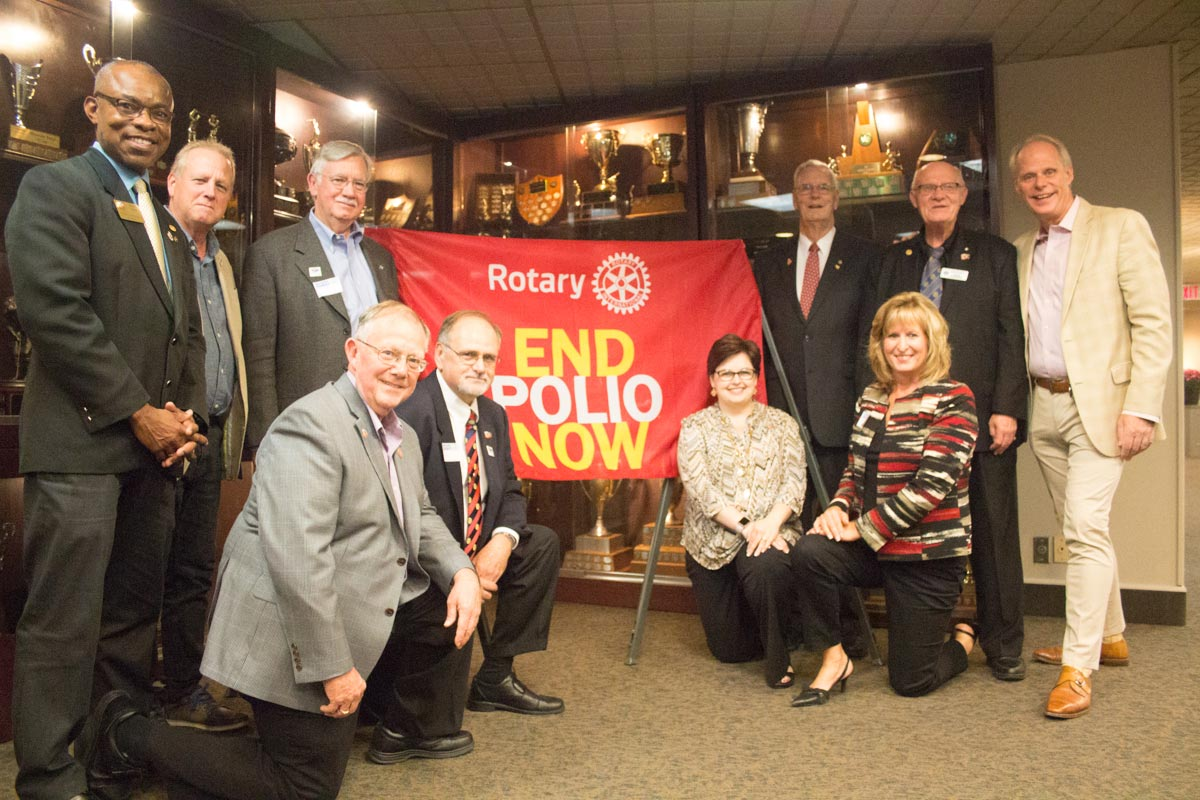 Rotary Club leaders from across Durham Region were on hand for a celebration marking World Polio Day at the Oshawa Golf and Curling Club. Councillor Dan Carter, far right, was also there to present official commendations from the Region of Durham to mark the occasion.