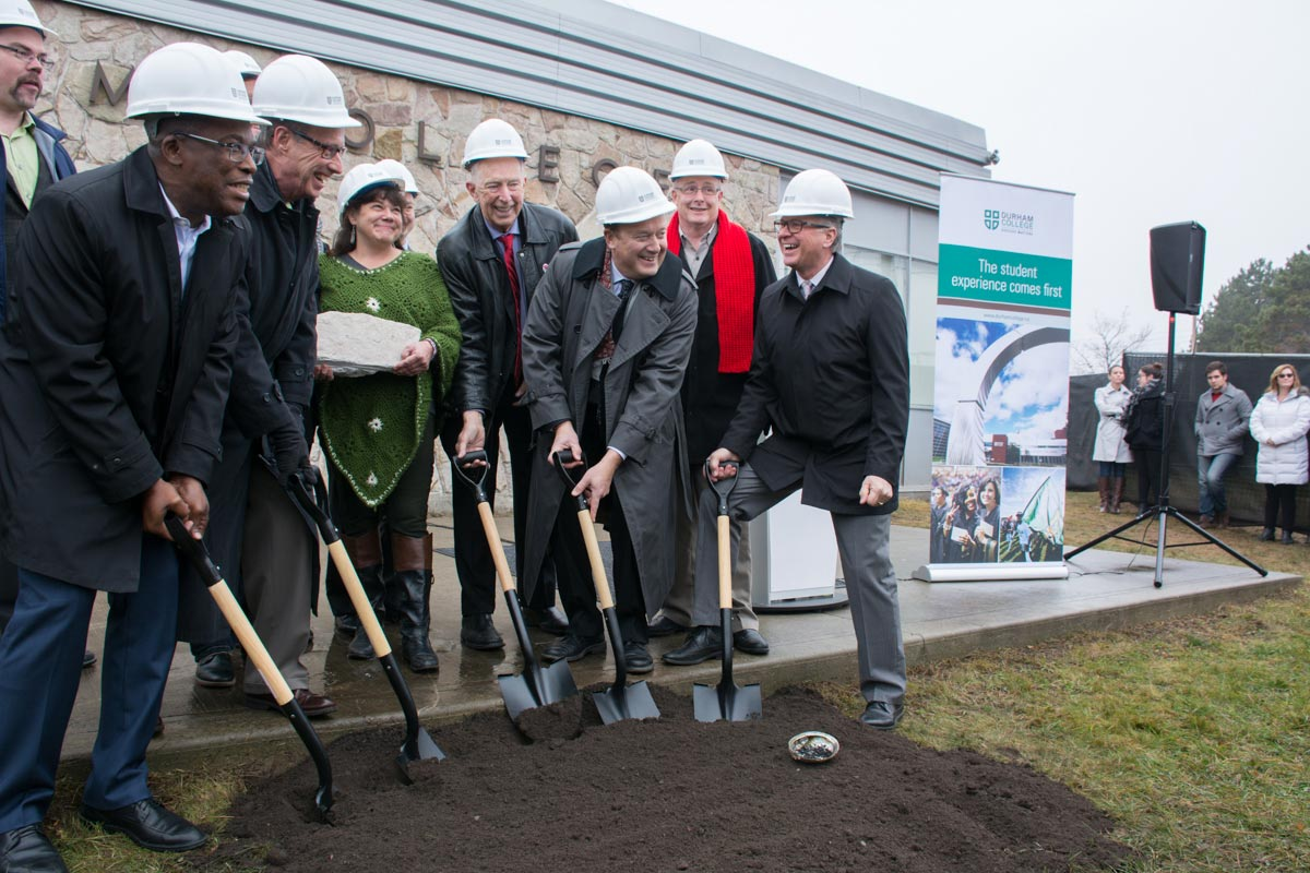 College officials and politicians alike were on hand for breaking ground for Durham College's new Centre for Collaborative Education. The new $40-million building, which will feature high-tech labs and more connected classrooms, is set to open its doors in 2018.