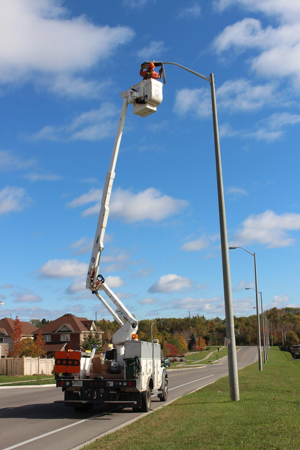 Work has begun on the installation of led lights across the city the multi
