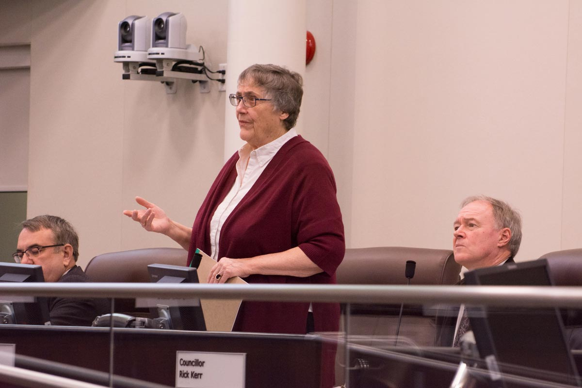 Councillor Nancy Diamond rises to speak during discussions surrounding the city's 2017 capital budget. City council voted in favour of taking on more debt in order to pay for runway replacement costs at the Oshawa Executive Airport. This was agreed to, despite it making the debt load for the city above those set out in the city's guidelines.
