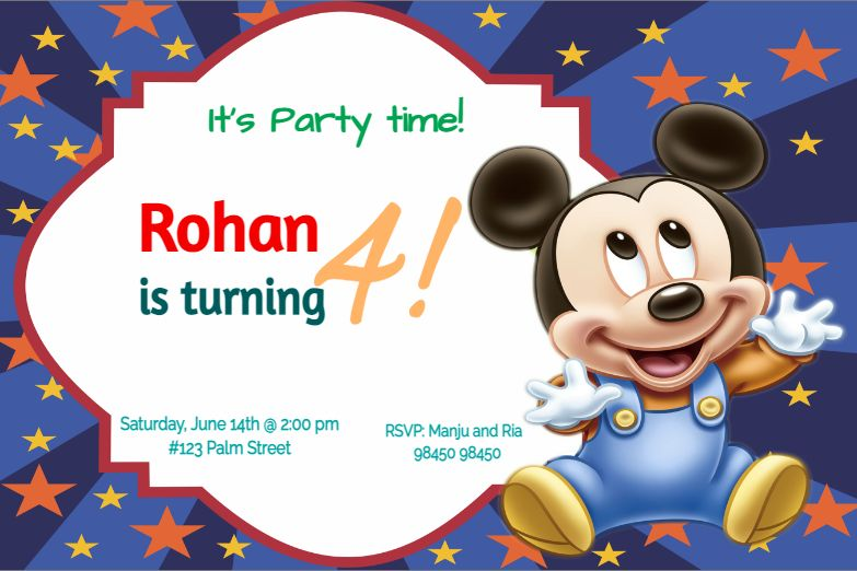 cute little mickey mouse birthday invitation card