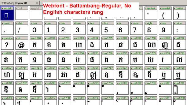 View Battambang Webfont on fontcreator
