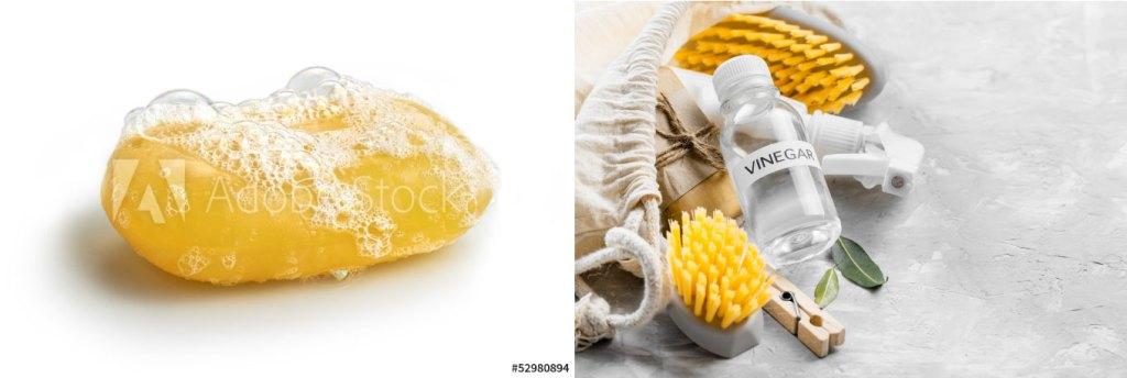 왼쪽은 하얀배경에 노란색비누가 거품이 일어난채로 있으며 오른족 사진은 회색바닥에 노란색 솔 2개와 분무기,식초가 주머니에서 꺼내지는 것처럼 놓여져있다,