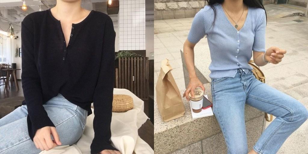 날씬해 보이는 코디 브이라인의 네크 상의를 입으면 슬림한 바디핏을 연출 할 수있다.