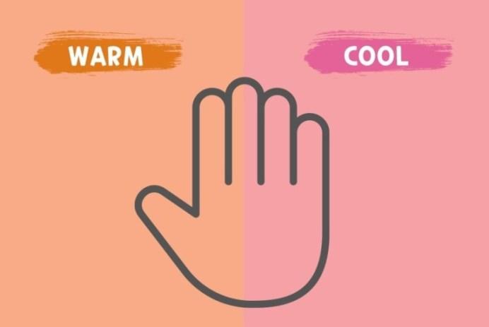 웜톤과 쿨톤을 진단할 수 있는 퍼스널컬러 자가진단 이미지이다. 이미지 위에 손을 올려두고, 오렌지 색과 핑크 색 중에 어디에 올려두었을 때 자신의 손이 더 화사해보이는지를 판단하면 된다.