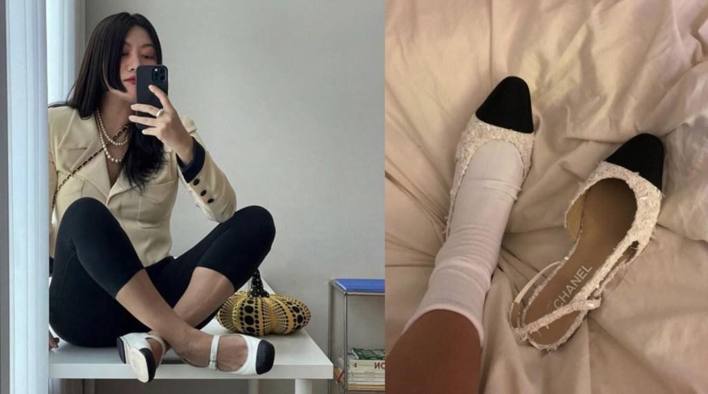 메리제인 슈즈 양말 시크한 스타일링 인플루언서 소쟌의 슈즈와 양말코디