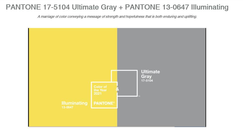 팬톤에서는 매년 올해의 컬러를 선정하며 2021년은 일루미네이팅과 얼티밋그레이입니다.