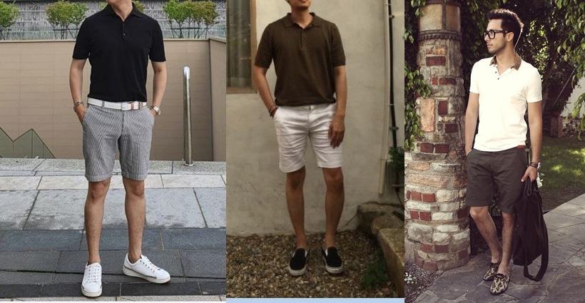 남자 여름 코디 카라티와 반바지 스니커즈 스타일링