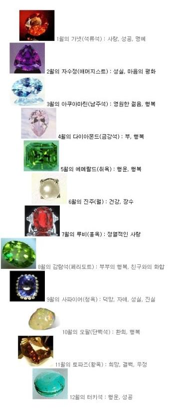 열두가지 탄생석의 정보를 나타내는 사진이다.