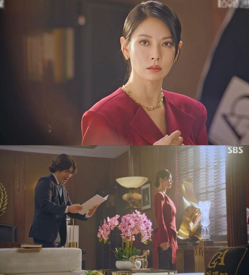 펜트하우스2 김소연 패션 버건디 자켓과 골드 쥬얼리 천서진룩